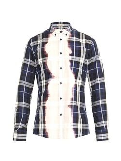 Bleached Checked Cotton Shirt by Bottega Veneta in Empire
