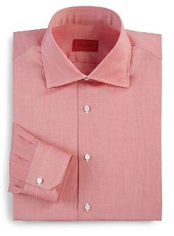 Regular-Fit Solid Riva Cotton Dress Shirt by Isaia in Black or White