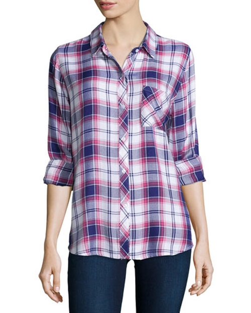 Hunter Plaid Long-Sleeve Shirt by Rails in Rosewood - Season 1 Episode 5