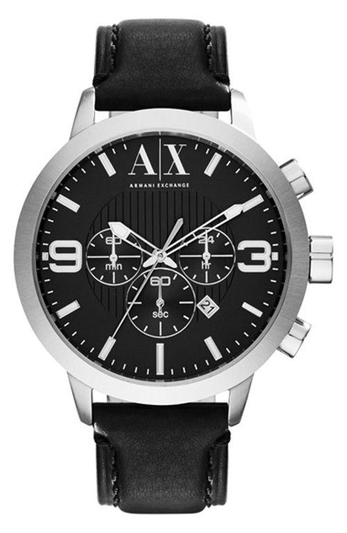 Chronograph Leather Strap Watch by AX Armani Exchange in The Gunman