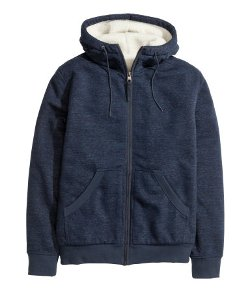 Pile-lined Hooded Jacket by H&M in Chronicle