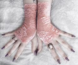 Lace Fingerless Gloves - Blush Pink Rose Peach Floral by ZenAndCoffee in The Great Gatsby