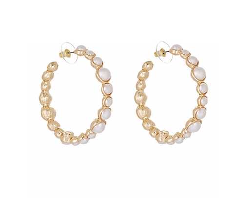 Imitation Pearl Hoop Earrings by Kenneth Jay Lane in Scream Queens - Season 2 Episode 2