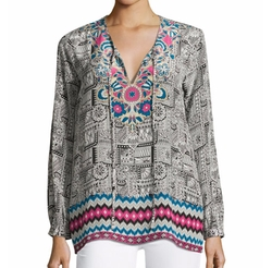 Virginia Printed Long-Sleeve Tunic by Tolani in Grace and Frankie