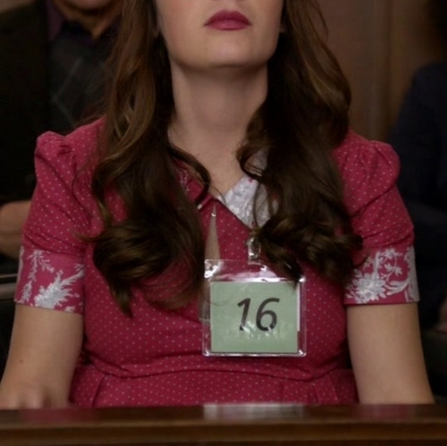 Custom Made Dot & Floral Dress by Debra McGuire (Costume Designer) in New Girl - Season 5 Episode 3