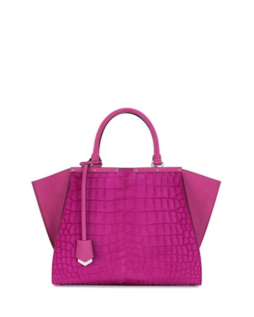 Croc-Embossed Calf Hair Satchel Bag by Fendi in Empire