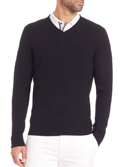 Arbor Merino Wool V-Neck Sweater by AG Green Label in New Girl