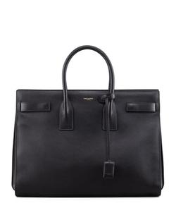 Classic Sac De Jour Leather Tote Bag, Black by Saint Laurent in Suits