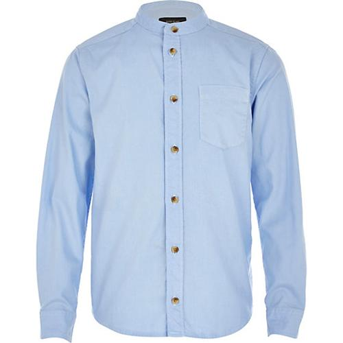 Boys Light Blue Long Sleeve Oxford Shirt by River Island in Unbroken