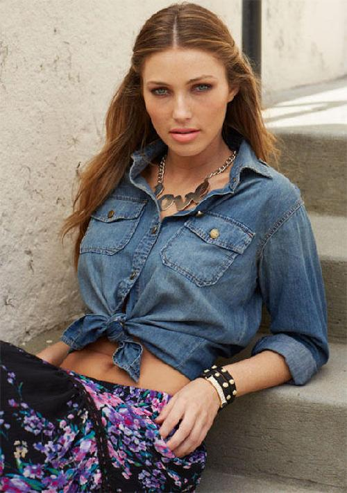 Maggie Chambray Shirt by Alloy Apparel in Blended