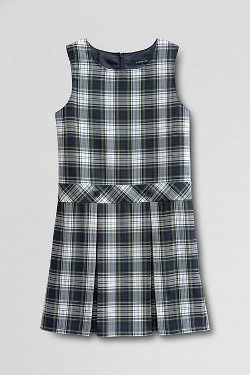 School Uniform Girls' Plaid Jumper by Lands' End in Black or White
