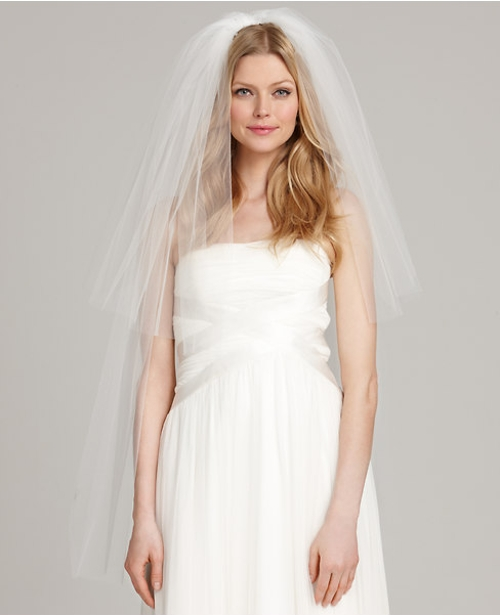 Two Tier Fingertip Length Veil by Ann Taylor in Unfriended