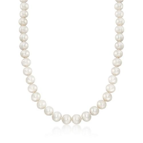 Cultured Pearl Necklace With 14kt Yellow Gold Clasp by Ross Simons in Blended