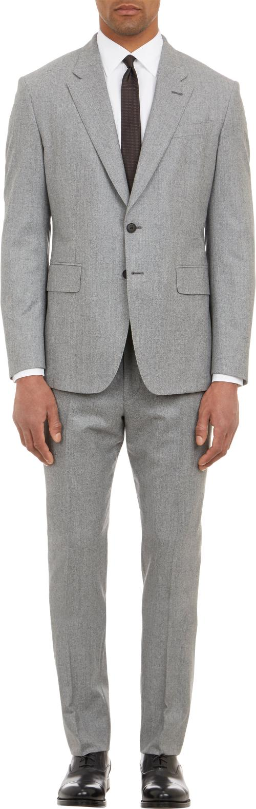 Flannel Two-Button Suit by Paul Smith Exclusive in Yves Saint Laurent