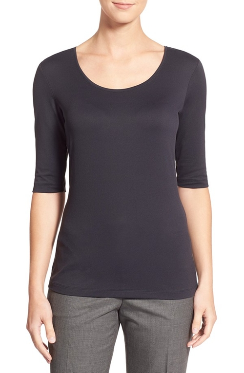 Scoop Neck Stretch Jersey Top by Boss in Supergirl