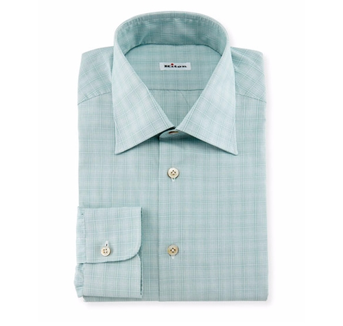 Micro-Check Windowpane Woven Dress Shirt by Kiton in Ballers