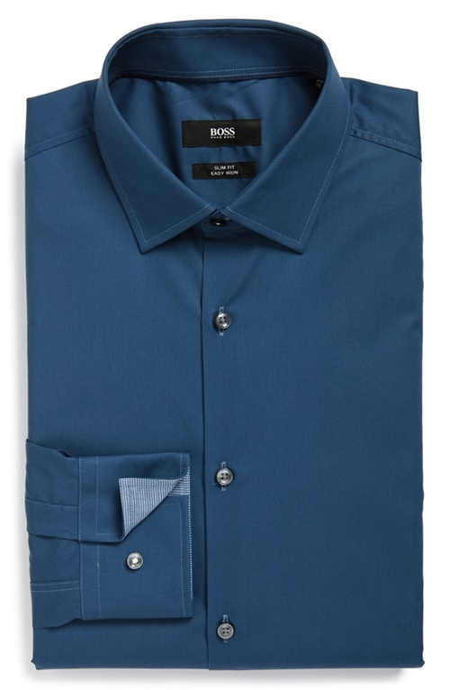 Slim Fit Easy Iron Solid Dress Shirt by Boss in Sicario
