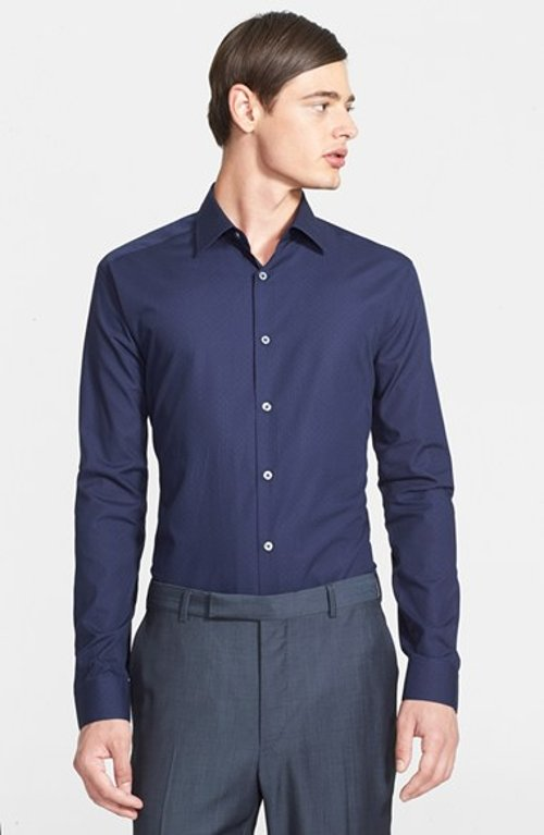 Slim Fit Mini Dot Print Dress Shirt by Paul Smith London in The Gambler
