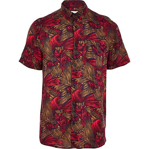 Red Abstract Print Short Sleeve Shirt by River Island in Pain & Gain