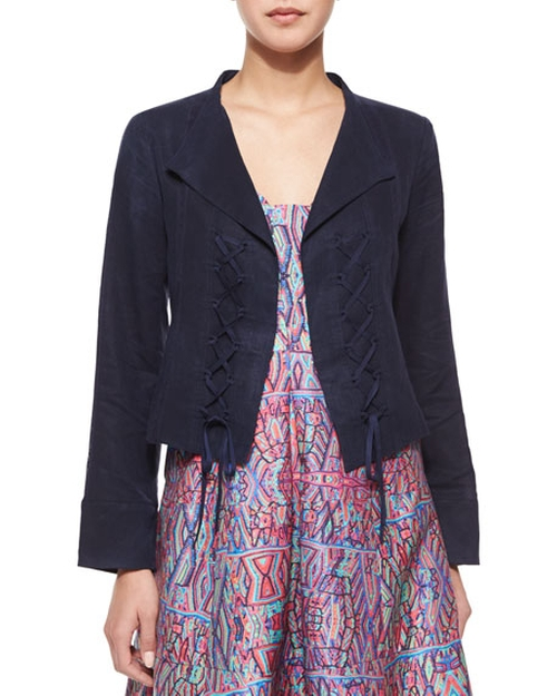 Angle Falls Structured Lace-Up Jacket by Nanette Lepore  in Pretty Little Liars - Season 6 Episode 11
