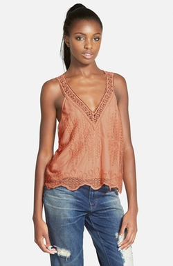 Embroidered V-Neck Tank Top by ASTR in Modern Family