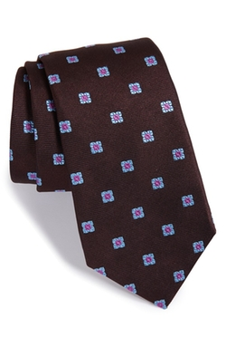 'Twill Ground Neat' Medallion Silk Tie by Ike Behar in Arrow