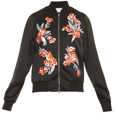 Cecily Embroidered Satin Bomber Jacket by Jonathan Saunders in Suicide Squad