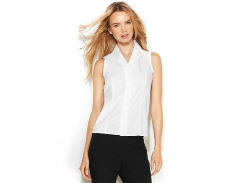 Sleeveless Button Front Shirt by Calvin Klein in (500) Days of Summer