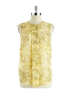 Pleated Snakeskin Blouse by Vince Camuto in Yves Saint Laurent