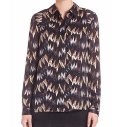 Chrissie Printed Silk Button-Front Blouse by Diane von Furstenberg in Grace and Frankie