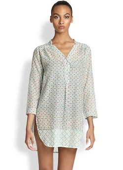 Geometric Dot Cotton/Silk Kurta Tunic Top by Roberta Roller Rabbit in The Second Best Exotic Marigold Hotel