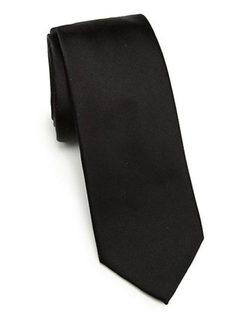 Solid Silk Tie by Saks Fifth Avenue Collection in Black Mass