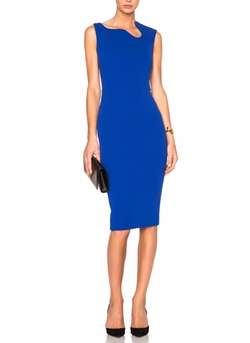 Matte Crepe Curve Neck Fitted Dress by Victoria Beckham in Mistresses