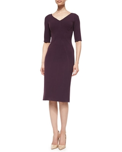 Half-Sleeve Fitted Sheath Dress by Lela Rose in Guilt