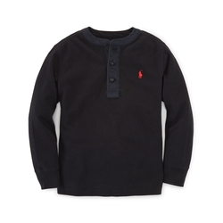 Cotton Long-Sleeved Henley Shirt by Ralph Lauren in Demolition