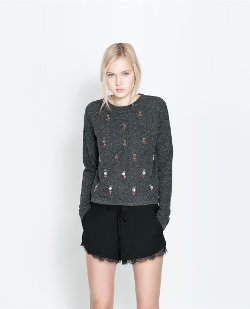 Beaded Velour T-Shirt by Zara in If I Stay