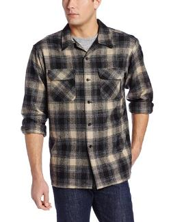 Men's Classic Board Shirt, Black/Charcoal/Tan Plaid by Pendleton in The Fault In Our Stars