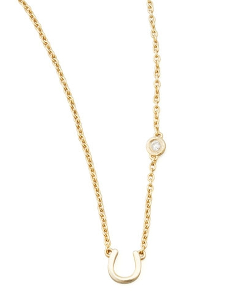 Horseshoe & Single-Diamond Necklace by SHY by Sydney Evan in Pretty Little Liars