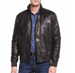 Perforated Leather Bomber Jacket by Michael Kors in American Assassin