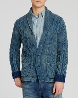 Indigo Cotton Shawl Cardigan by Polo Ralph Lauren in Black-ish