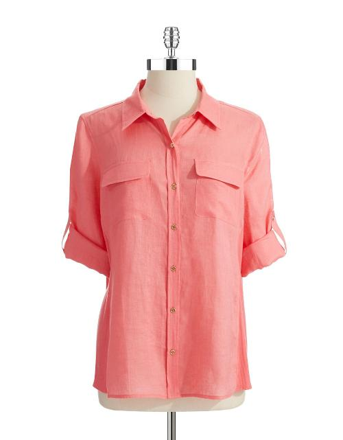 Linen Button-Down Blouse by Calvin Klein in Tammy