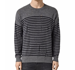 Coast Crewneck Stripe Distressed Sweater by AllSaints in The Flash