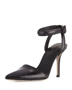 Lovisa Leather Ankle-Wrap Pump Shoes by Alexander Wang in Focus