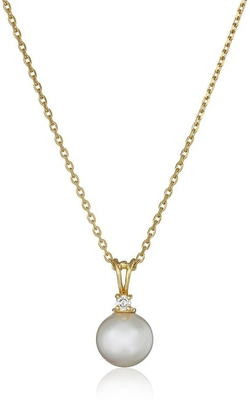 Round Pearl Cubic Zirconia Pendant Necklace by Majorica in The Vampire Diaries