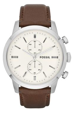 'Townsman' Chronograph Leather Strap Watch by Fossil in No Strings Attached