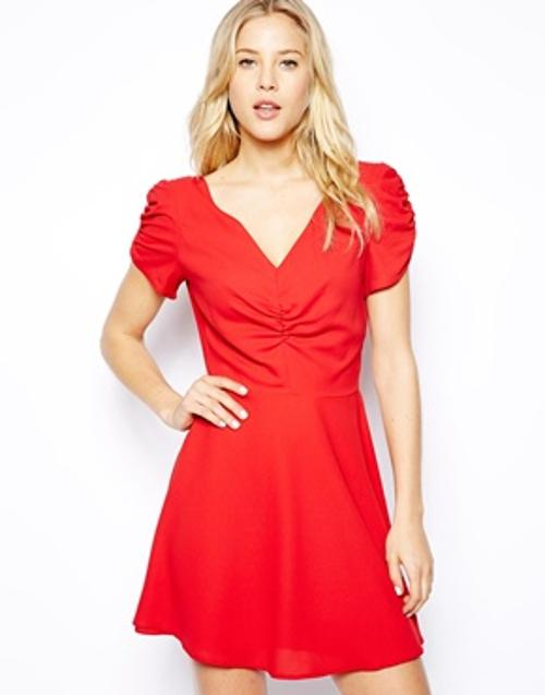 V-Neck Tea Dress by Love in About Last Night