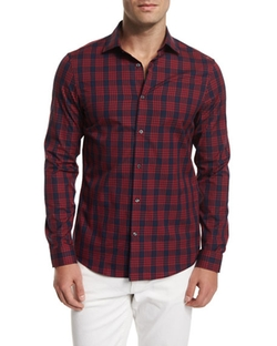 Plaid-Check Long-Sleeve Sport Shirt by Michael Kors in Hell or High Water