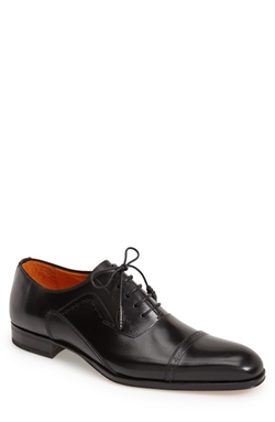 'Ghent' Cap Toe Oxford Shoes by Mezlan in Black Mass