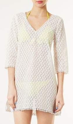 Cream Daisy Lace Cover Up by Topshop in The Other Woman