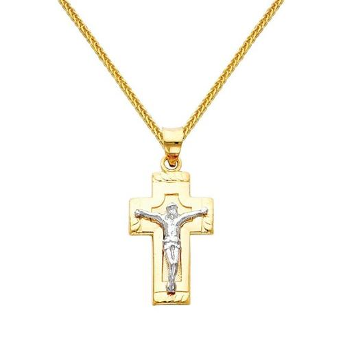 Two Tone Gold Jesus Cross Religious Charm Necklace by The World Jewelry Center in Contraband